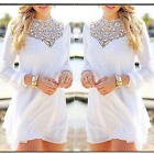 Sexy Women Lace Chiffon Summer Long Sleeve Blouse Sundress T-Shirt Crochet White