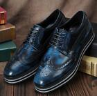 Fashion Men's leather Platform Carved Brogue Lace Up Shoes Dress Formal oxford