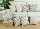 43cm X 43cm Cushion Covers Pillows Shell Linen Blend Embroidered Trellis Chain