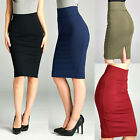 Stretch-Knit Pencil Skirt Women's High Waisted Below Knee Midi Fitted Office