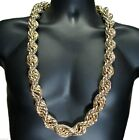 10k Yellow Gold Plated HEAVY RUN DMC 20MM Hip Hop Rope Chain Necklace