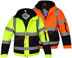 HI VIZ VIS VISIBILTY TWO TWON BOMBER CONTRACTOR SECURITY WORK MENS JACKET
