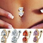Reverse Crystal Bar Belly Ring Gold Body Piercing Button Navel Two Heart Forsale