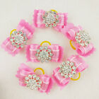 Princess Dog 3D Pink Hair Bows Rhinestone Flower Pet Hair Grooming Rubber Bands