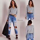 Women Sexy V-NECK Crop Tops Bustier Blouse Shirt Lace-Up Long Sleeve T-Shirts BF