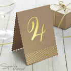 Vintage Style Table Numbers - Kraft Card with Metallic Gold Detail -Freestanding
