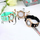 Bling Crystal Golden Women Girl Ladies Quartz Silicone Wrist Watch Strap JF