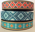 AZTEC STYLE GROSGRAIN RIBBON 22mm/25mm/38mm/75mm wide - sold by the metre