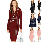 Womens Vintage Long Sleeve Bodycon OFFICE Evening Party Pencil Dress Plus Size