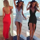 UK Sexy Celeb Womens Backless Maxi Summer Beach Dress Evening Cocktail Dress