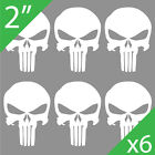 "(6) • 2"" Inch Tall • The Punisher Skull Logo Vinyl Decals • Car Window Stickers"