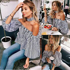 Women Sexy Slash Neck Stylish Cropped Black White Striped Long Sleeve T-shirt A