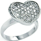 925 Sterling Silver Pave Set Heart Shape Inlay Clear CZ Love Band Ring Size 3-11
