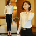 Popular Ladies V Neck Chiffon Top Long Sleeve Loose Casual T Shirt Blouse S-XXL