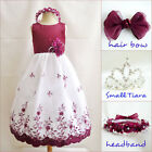 Gorgeous Burgundy wine embroidery graduation flower girl party dress all sizes