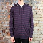 Altamont New Long Sleeve Hooded Striped Shirt Purple Navy White size S M