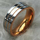 Tusen Jewelry 8mm Men's Double Grooved Rose Gold Plated Wedding Band Ring New