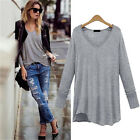 Women Loose Long Sleeves V-Neck Blouses Solid Color Basis Shirt Plus Size Tops