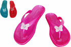 Girls kids Pink Flip Flops sandals Summer Beach Thong Glitter Rubber flat red