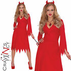 Adult Red Hot Devil Ladies Halloween Fancy Dress Costume Party Outfir New