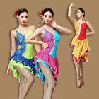 D955 Professional Latin Dance Dress Ballroom Skirt Performance Belly Dance M/L