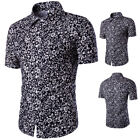 New Arrival Fashion Casual Flower Printing Short Sleeve Men Shirt