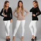 Fashion Women Lace Up Casual Long Sleeve T-Shirt Tops Blouse Sweater Cargigan
