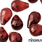 [WHOLESALE] NATURAL RED GARNET LOOSE GEMSTONE FACETED DROP HALF DRILLED HOLE