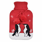Large Hot Water Bottle & Knitted Red Cover With Cute Penguins Design Xmas Gift