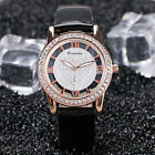 Fashion New Women Girl Leather Band Love Heart Crystal Analog Quartz Wrist Watch