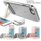 For iPhone 7/7 Plus [Crystal Clear] Slim Hard Kickstand Soft Gel TPU Case Cover