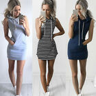 Unique Boho Summer Hooded Bodycon Sleeveless Sexy Party Cocktail Mini Dress