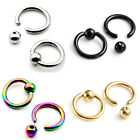 Pair 16G Stainless Tragus Helix Hoop Captive Ring Cartilage Ear Stud Earring Hot