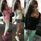 Ladies Sexy Front Plunge Tie Stretch Neckline Long Sleeve Party bandage Tops