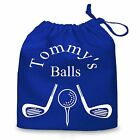 Novelty Personalised Golf Ball bag. Ideal gift, various colours. Free postage.