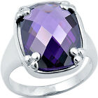 925 Sterling Silver Oval Amethyst CZ Wedding Promise Engagement Ring Size 3-11