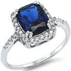 Sterling Silver Emerald Cut Sapphire Clear CZ Engagement Promise Ring Size 3-11
