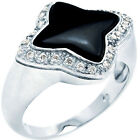 925 Sterling Silver Black Enameled Cross Design Round Clear CZ Ring Size 3-11