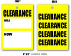 Yellow Clearance now  swing tags tickets for clothing retailers D/Sided