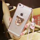 3D Cute Metal Bear Ring Holder Stand Clear Case Cover for Cell Phones with Strap
