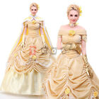 Disney Beauty and the Beast Belle Cosplay Costume Halloween Party Dress AA