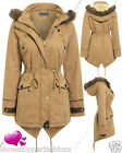 NEW Womens FAUX FUR CANVAS PARKA Ladies JACKET COAT PADDED Size 8 10 12 14 16