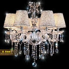 6 Arms - Crystal Chandelier Pendant Lamp Hanging Light Ceiling Lampshade Light