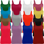 Ladies Ribbed Stetchy Vest Top Rib Strap T-Shirt Tank Tee Size  Womens