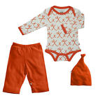 "Baby Soy Neutral 3 Piece Ivory/Orange Alphabet ""X"" Printed  Bodysuit, Pant & H"