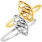 925 Sterling Silver Unique Marquise Floral Celtic Knot Fine Band Ring Size 3-11