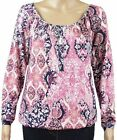 New Ex George Ladies Pink Jersey Long Sleeve Peasant Gypsy Casual Top Size 8- 24