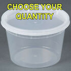 16 oz Pint Size Plastic Freezer Food Storage Soup Deli Container Tubs with Lids