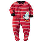 Carter's Boys 1 Piece Red Striped Penguin Applique Zip Up Footed Pajama