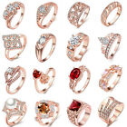 18 Styles Women Rose Gold Plated Finger Ring Jewelry Gift Size 7 8 9 10 chic